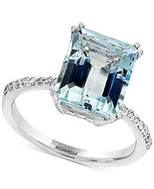EFFY® Aquarius Aquamarine (3-3/4 ct. t.w.) and Diamond (1/6 ct. t.w.) Ring in 14k White Gold