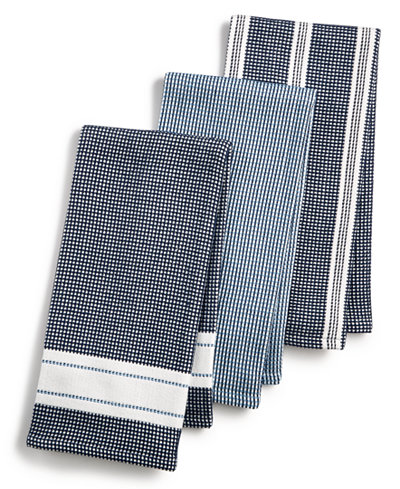Martha Stewart Collection 3-Pc. Waffle Weave Kitchen Towels, Created ...