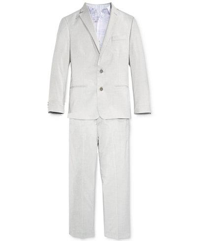 Calvin Klein 3-Pc. Tick Weave Jacket, Shirt & Pants Separates, Big Boys