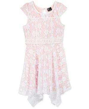 Pink & Violet Lace Handkerchief Hem Dress, Big Girls (7-16) 3178916