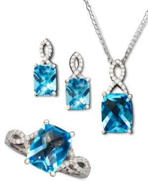 Blue Topaz (7-1/2 ct. t.w.) and White Topaz Accent Jewelry Set in Sterling Silver