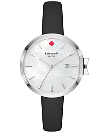 kate spade new york Women's Park Row Black Leather Strap Watch 34mm KSW1269
