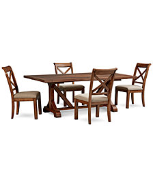 Mandara Rectangle Furniture, 5-Pc. Set (Dining Trestle Table & 4 X-Back Side Chairs)