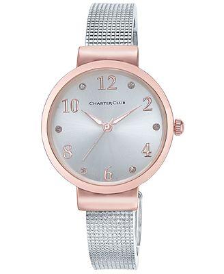 Charter Club Women's Silver-Tone Mesh Bracelet Watch 32mm, Only at Macy's