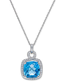 Blue Topaz (8 ct. t.w.) and Diamond (1/3 ct. t.w.) Pendant Necklace in 14k White Gold
