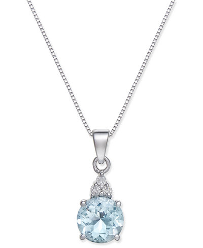 Aquamarine (1-1/6 ct. t.w.) and Diamond Accent Pendant Necklace in 14k White Gold