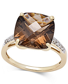 Smoky Quartz (6-1/2 ct. t.w.) and Diamond Accent Ring in 14k Gold