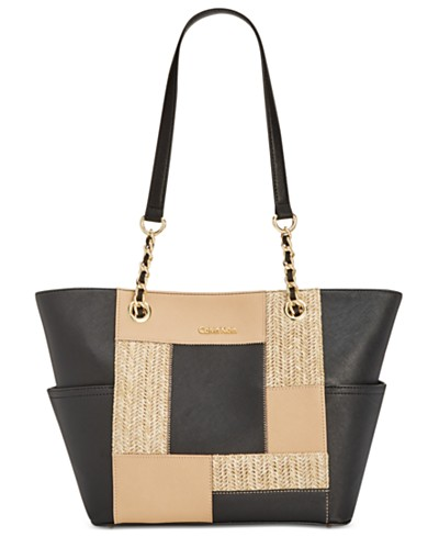 Calvin Klein Saffiano Straw Patchwork Key Items Tote