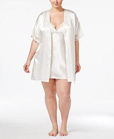 Flora by Flora Nikrooz Plus Size Emma Lace-Trimmed Charmeuse Wrap Robe