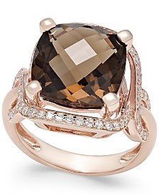 Smoky Quartz (6-1/6 ct. t.w.) and Diamond (3/8 ct. t.w.) Statement Ring in 14k Rose Gold
