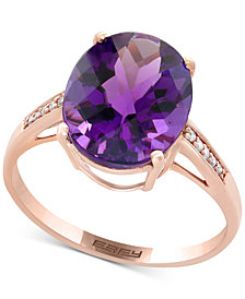 EFFY® Viola Amethyst (4-1/6 ct. t.w.) and Diamond Accent Ring in 14k Rose Gold