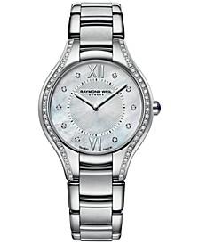 Women's Swiss Noemia Diamond Accent Stainless Steel Bracelet Watch 32mm 5132-STS-00985