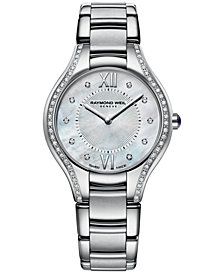 RAYMOND WEIL Women's Swiss Noemia Diamond Accent Stainless Steel Bracelet Watch 32mm 5132-STS-00985