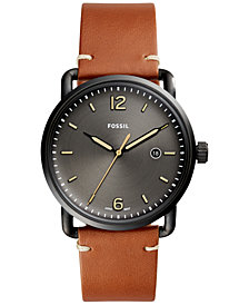 Fossil Men's Commuter Light Brown Leather Strap Watch 42mm FS5276