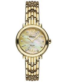Women's Solar Tressia Diamond Accent Gold-Tone Stainless Steel Bracelet Watch 23mm SUP356