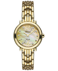 Seiko Women's Solar Tressia Diamond Accent Gold-Tone Stainless Steel Bracelet Watch 23mm SUP356