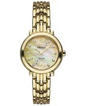 1e2da1c8cb Seiko Women s Solar Tressia Diamond Accent Gold-Tone Stainless Steel  Bracelet Watch 23mm SUP356