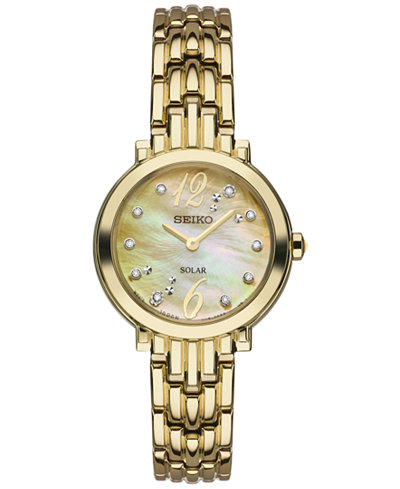 Seiko Women's Solar Tressia Diamond Accent Gold-Tone Stainless Steel Bracelet Watch 23mm SUP356