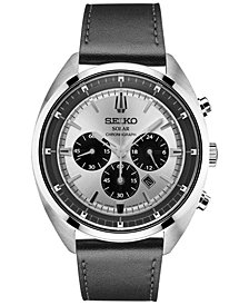 Seiko Men's Solar Chronograph Recraft Series Black Leather Strap Watch 43mm SSC569