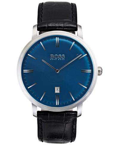 BOSS Hugo Boss Men's Tradition Black Leather Strap Watch 40mm 1513461