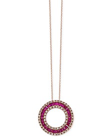 Amoré by EFFY® Ruby (1-5/8 ct. t.w.) and Diamond (1/3 ct. t.w.) Circle Pendant Necklace in 14k Rose Gold, Created for Macy's