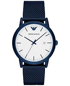 Emporio Armani Men's Blue Stainless Steel Mesh Bracelet Watch 43mm AR11025