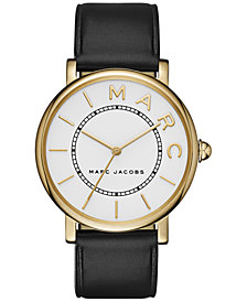 Marc Jacobs Women's Roxy Black Leather Strap Watch 36mm