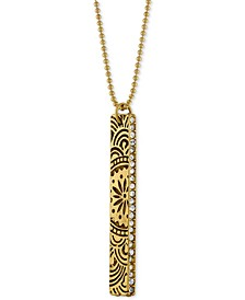 Gold-Tone Crystal Studded Decorative Bar Pendant Necklace