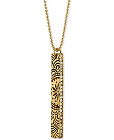 RACHEL Rachel Roy Gold-Tone Crystal Studded Decorative Bar Pendant Necklace