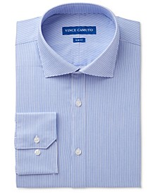 Men's Slim-Fit Comfort Stretch Pinstripe Twill Dress Shirt