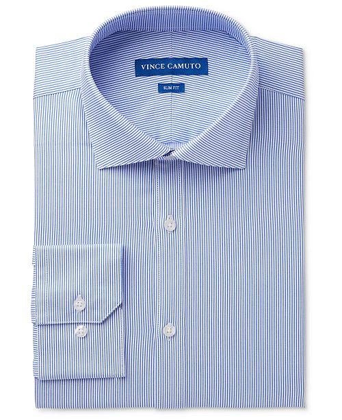 Vince Camuto Men's Slim-Fit Comfort Stretch Pinstripe Twill Dress Shirt