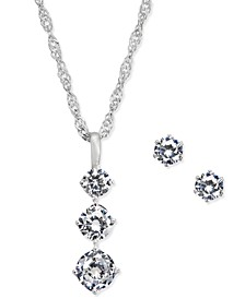 Triple Crystal Pendant Necklace & Stud Earrings Set, Created for Macy's