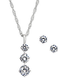 Charter Club Triple Crystal Pendant Necklace & Stud Earrings Set, Created for Macy's