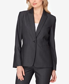 Tahari ASL Peak-Collar One-Button Blazer