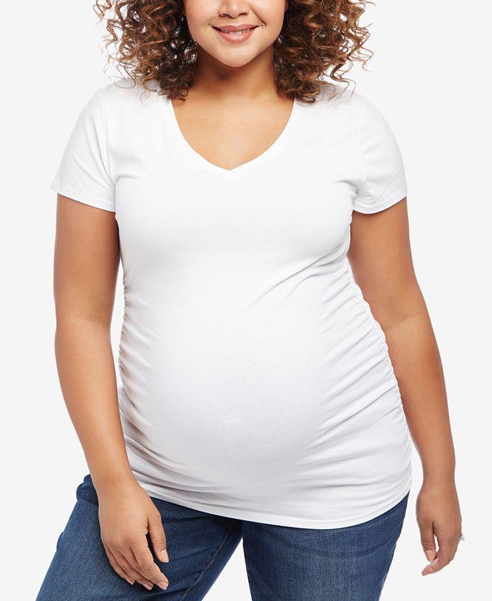Motherhood Maternity - Maternity Plus Size V-Neck T-Shirt
