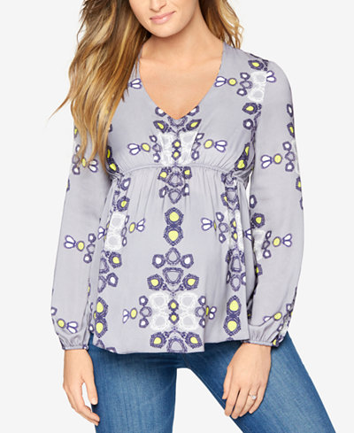 A Pea In The Pod Maternity Silk Printed Blouse