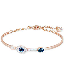 Swarovski Rose Gold-Tone Clear and Blue Crystal Evil Eye Adjustable Bangle Bracelet
