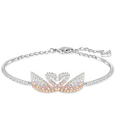Swarovski Silver-Tone Colored Crystal Swans Bangle Bracelet