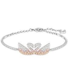 Swarovski Silver-Tone Colored Crystal Swans Bangle Bracelet