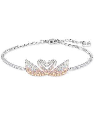 Swarovski Silver Tone Colored Crystal Swans Bangle Bracelet