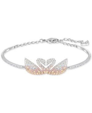 Silver-Tone Colored Crystal Swans Bangle Bracelet