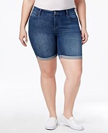 Trendy Plus Size  Denim Bermuda Shorts