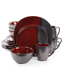 Gibson Elite Volterra Red 16-Piece Dinnerware Set