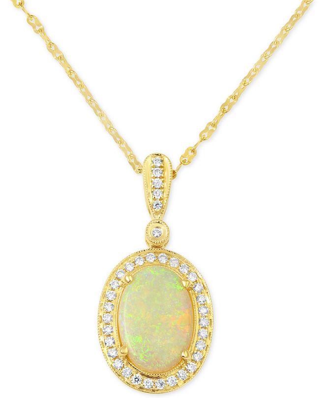 Macy's Opal (3 ct. t.w.) & Diamond (1/3 ct. t.w.) Pendant Necklace in 14k Gold