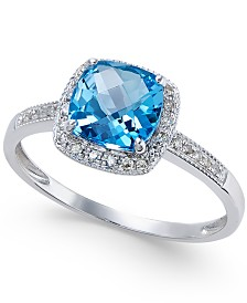 Blue Topaz (1-1/2 ct. t.w.) and Diamond (1/10 ct. t.w.) Ring in 14k White Gold