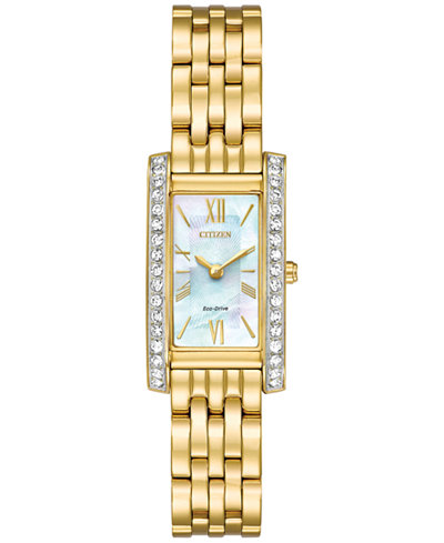 Citizen Eco-Drive Women's Silhouette Crystal Jewelry Gold-Tone Stainless Steel Bracelet Watch 18x32mm EX1472-56D