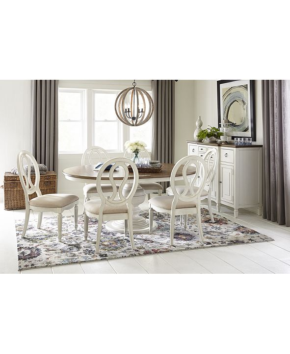 Furniture Sag Harbor Round Dining Furniture, 7-Pc. Set (Expandable Round Dining Pedestal Table & 6 Side Chairs)