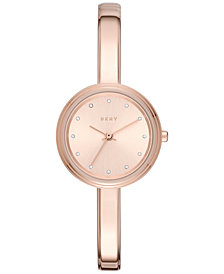 DKNY Women's Murray Rose Gold-Tone Stainless Steel Bangle Bracelet 27mm, Created for Macy's