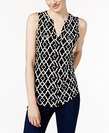 I.N.C. Petite Printed Zipper-Detail Top, Created for Macy's