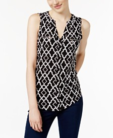 I.N.C. Printed Split-Neck Top, Created for Macy's